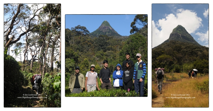 OSC students and teacher before and during the trek to Sri Pada.