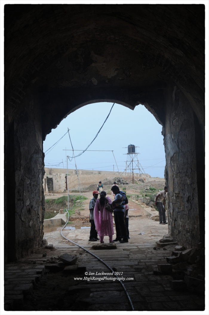 A new child and her parents visit the Jaffna Fort now under restoration.