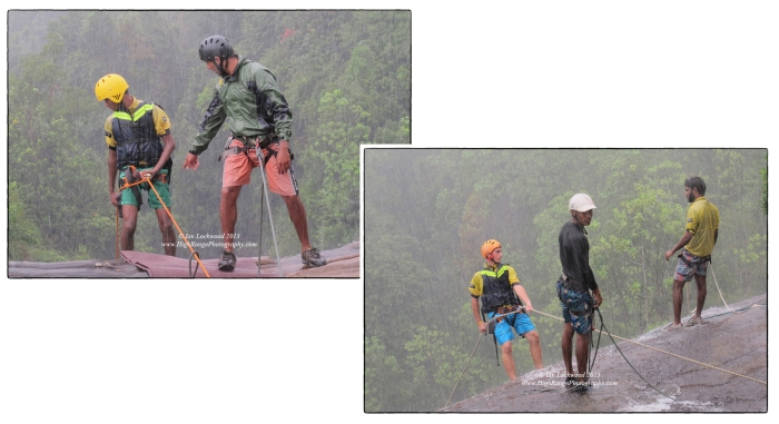 Abseiling in heavy afternoon rain. Borderlands instructors Mahesh and Nirmal guiding OSC students over the edge.