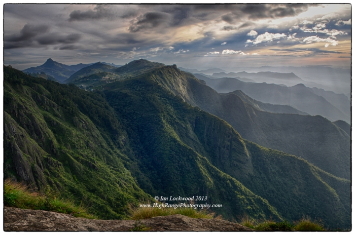 Looking east to Mount Perumal and Shembaganur from Eagle Cliffs. A DR image composed of five single images exposed at different exposures. September 2013.