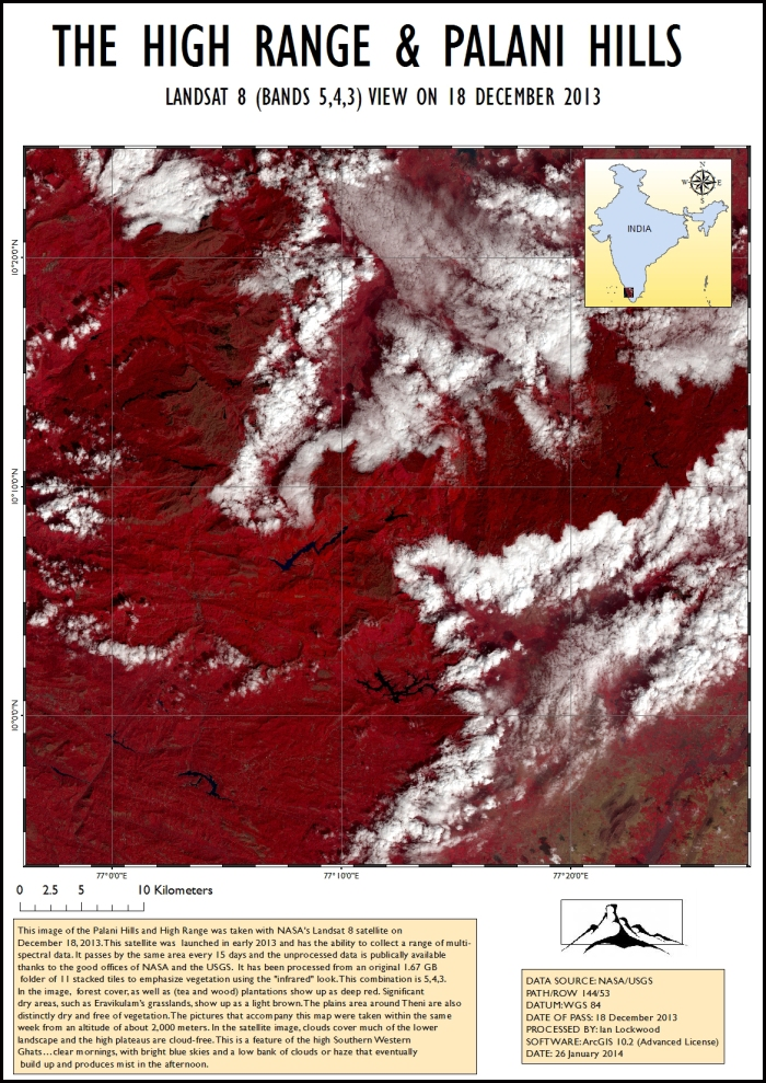 Landsat 8 image of the High Range and Palani Hills. (Click for enlarged view)