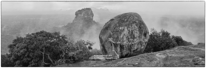 Sigiriya from the south as seen from Pidruangala on a damp, monsoon-soaked morning.