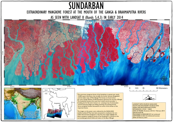 Landsat View of Sunderban. Click on image for full A3 100 dpi version.