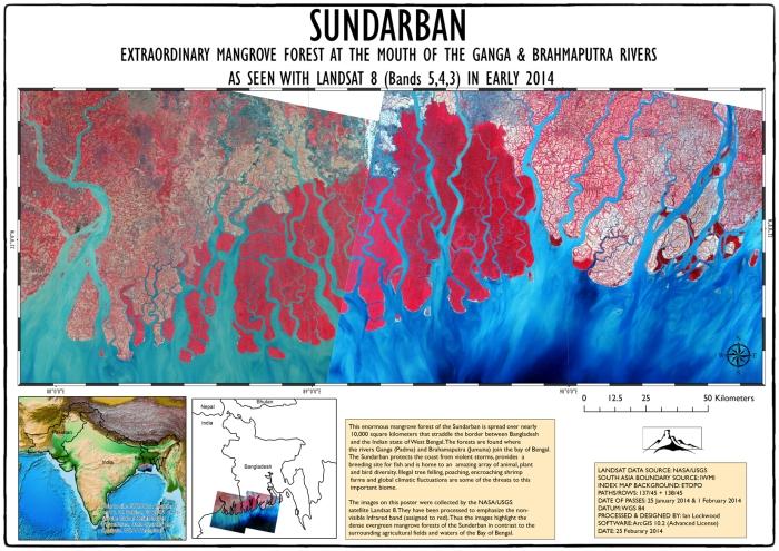Landsat View of Sunderban. Click on image for full A3 100 dpi version.