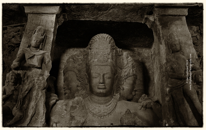 Mahesh Murti in Elephanta. Taken at ground level with a Canon G11 and edited with Photoshop Plugins from Nik Software.