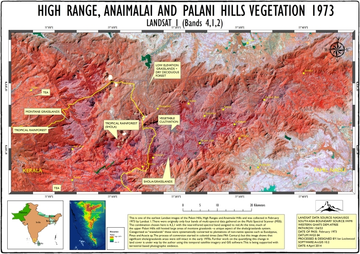 1973 Landsat map of the high Range, Anaimalai and Palnis Hills.