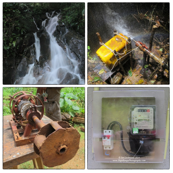 Stages in generating micro hydroelectricity in Sinharaja. The examples here are simple alternators hooked up to pipes in the forest but there are other more powerful gnerators set up with funds from the ADB and other donors. Entrepreneurs can now sell electricity back to the CEB since the  area is being hooked up to the gird.