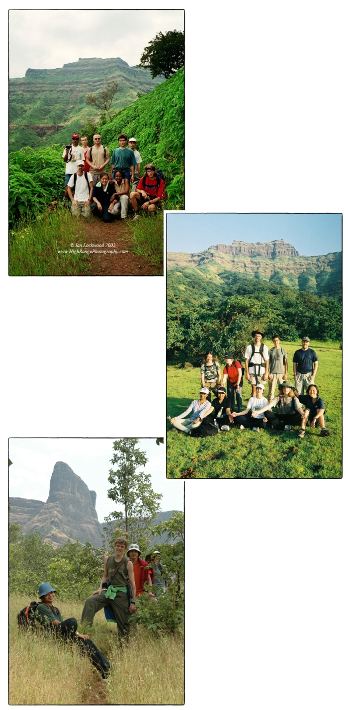 Three different MUWCI hikes starting in Torna (top) in 2002 and continuing to Rajgad (2003) and Nane Ghat (2004). There are several distinguished faculty members seen here including Harendra Shukla, Karl Mossfeldt, Sandy Hartwiger, Anne Hardy and Beatrice Perez Santos . Students include Nicolas, Fong, Andree and several other wonderful hiking companions.