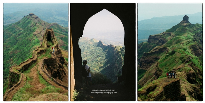 Scenes from Torna and Rajgad forts. Torna was the first major Sahyadri fort that we took an expedition to (left and right images). We returned a year later to explore the neighboring Rajgad (center image).