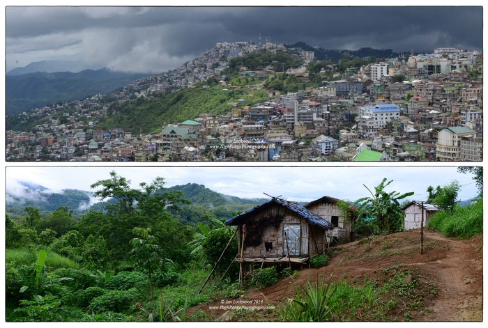 Contrasting views of settlements in Mizoram. Monsoon cloud prepare to deliver a shower to Aizawl in the above image. The city is composed of densely packed multi-storied concrete buildings. Below a traditional rural dwelling made of bamboo and mostly natural materials  in Sairang.