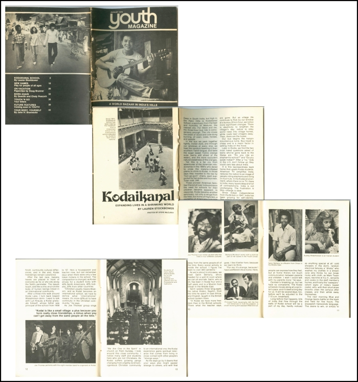 Selected scans of pages form the 15 page Youth magazine article on Kodaikanal School (August 1978). Images by Steve McCurry.