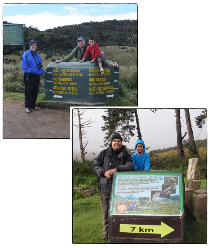Generations of Lanka Lockwoods visiting Horton Plains National Park. Upper left: Merrick, Ian and Lenny in December 2010 at the World End trail head. Lower right: Ian and Amy in 2014 at the Kirigalpotha trail head.