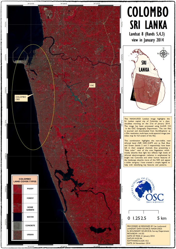 Colombo Area Landsat map.