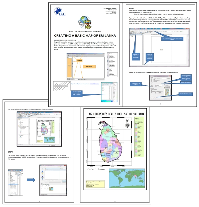 Creating a basic Sri Lanka map with GIS. Screen shots from a tutorial made in house for the MYP 1 class.