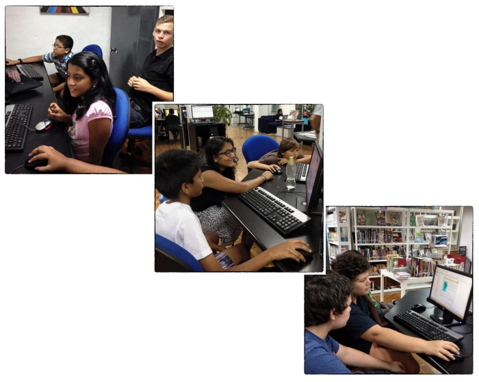 OSC's DP1 Geography students assisting and guiding MYP1 students with their first GIS assignment.