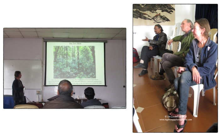 (Left) Tanya of the Vattakanal Conservation Trust sharing insights into shola regeneration in plantations. (Right) Jaykaran, Bob and Tanya at the open discussion.