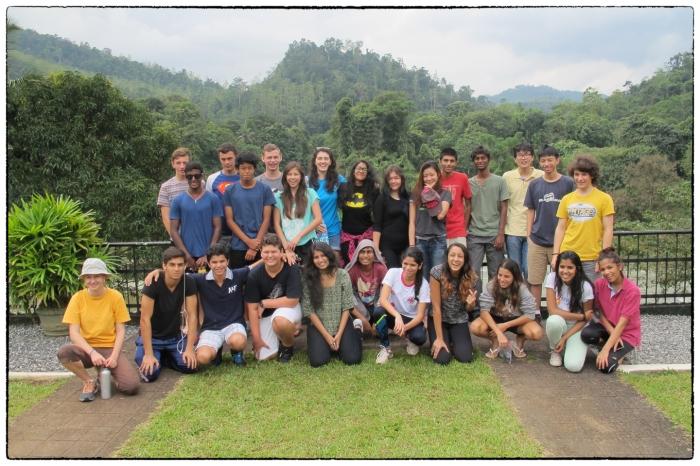 OSC's Class of 2016 taking a breakfast break at Kitulgala on the way up to Sri Pada.