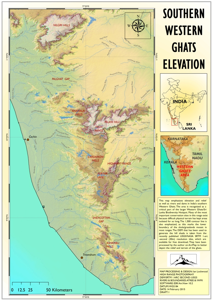 Draft#1 SRTM derived elevation of India's southern Western Ghats.
