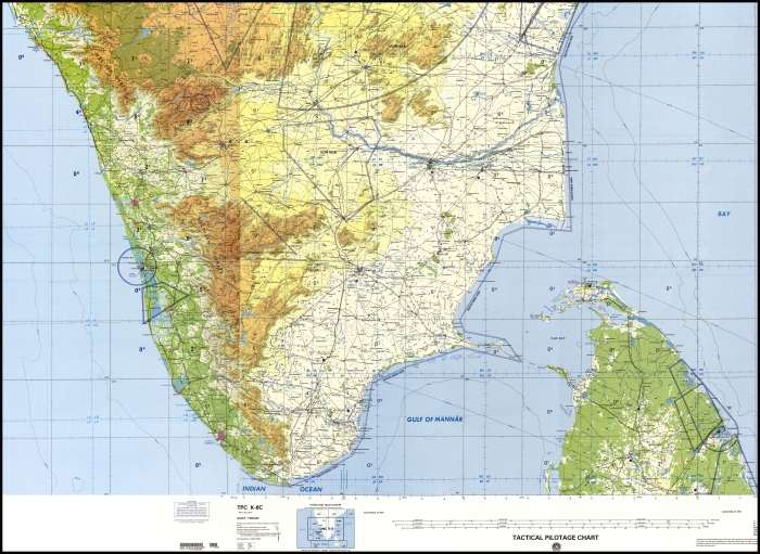 Tactical Pilotage Chart (TPC) of southern India featuring sheets TPC- K8C and TPC-K8d.