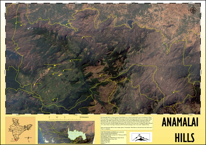 True color rendition of a multi-spectral Landsat 8 image of the Anamalai Hills area. Click on image for a large 150 DPI A1 size version.