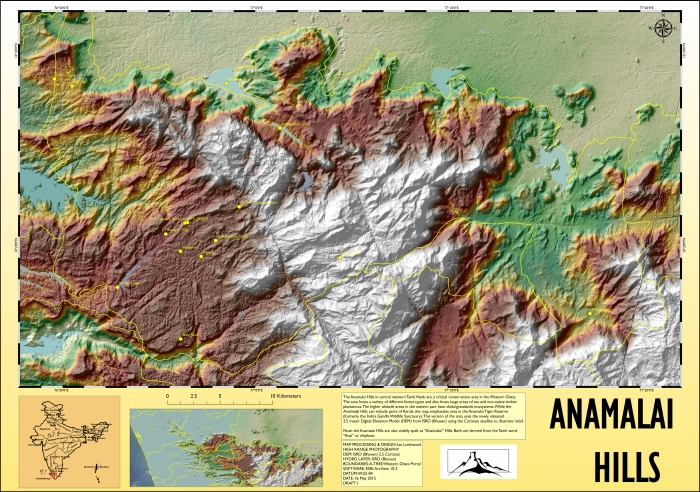 Map illustrating relief and elevation in the Anamalai Hills based on recently released 2.5 meter Digital Elevation Model (DEM) from ISRO/Bhuvan. Click on image for 150 DPI A1 version.