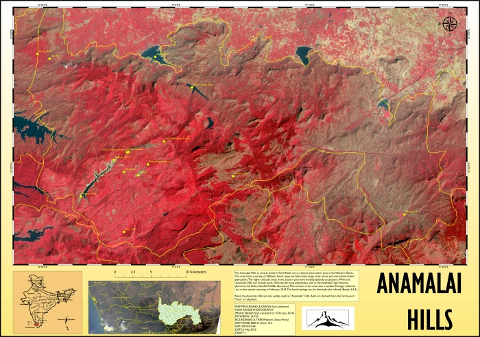 Infrared (thermal) rendition of a multi-spectral Landsat 8 image of the Anamalai Hills area. Click on image for a large 150 DPI A1 size version.
