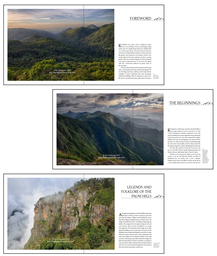 Screen shots of some of the opening landscape images. In the final print editon they are slighly different and do not include the copyright stamp and author acknowledgement.