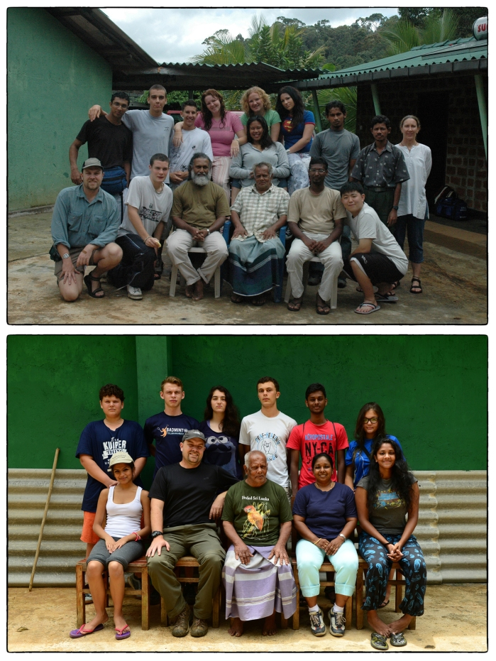 OSC in Sinharaja. Above: Class of 2006 wiht Martin, Professor Kotagama, Karen Coniff an others. Below:  Class of 2016 with Martin, Dr. Indrika and their teacher.