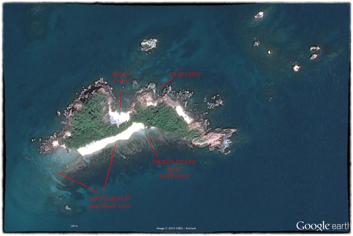 Google Earth view of Pigeon Island in 2015