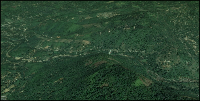 Google Earth image looking at the Kelani rafting area from the south.
