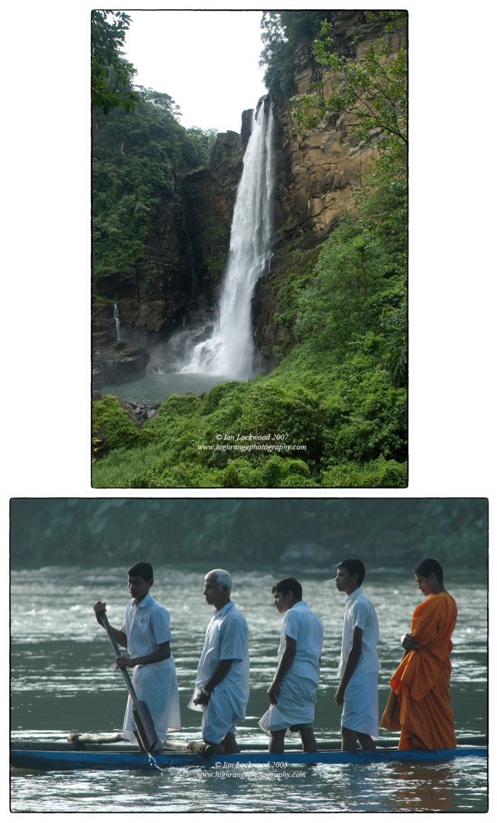 Scenes from the Kelani. (Above) Laxapana falls-beautiful but actually severely reduced in flow by upstream water diversions. (Below) Passengers crossing the Kelani near the Kitulgala Rest House.