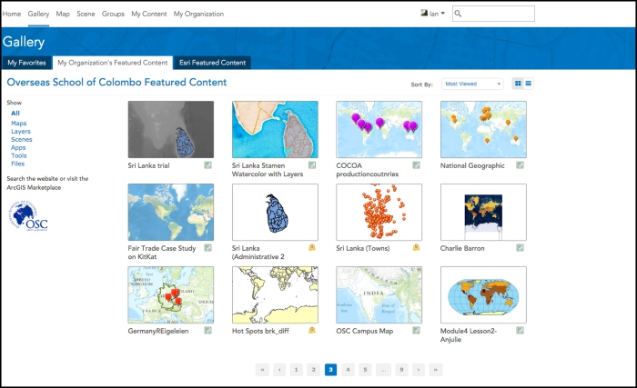 StoryMap table of contents showing layers and projects.