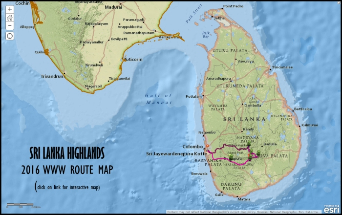 The 2016 Sri Lanka Highlands WWW route map. Click on the link below for it to open in ArGIS online.