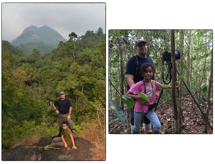 Getting the kids into the woods: (Left) Lenny and Ian returning from a hike to Poochimara in Silent Valley National Park (April 2016). (Right) Amy and her dad in Sinharaja photographing the elusive Serendib Scops Owl with a 600mm lens (March 2016).