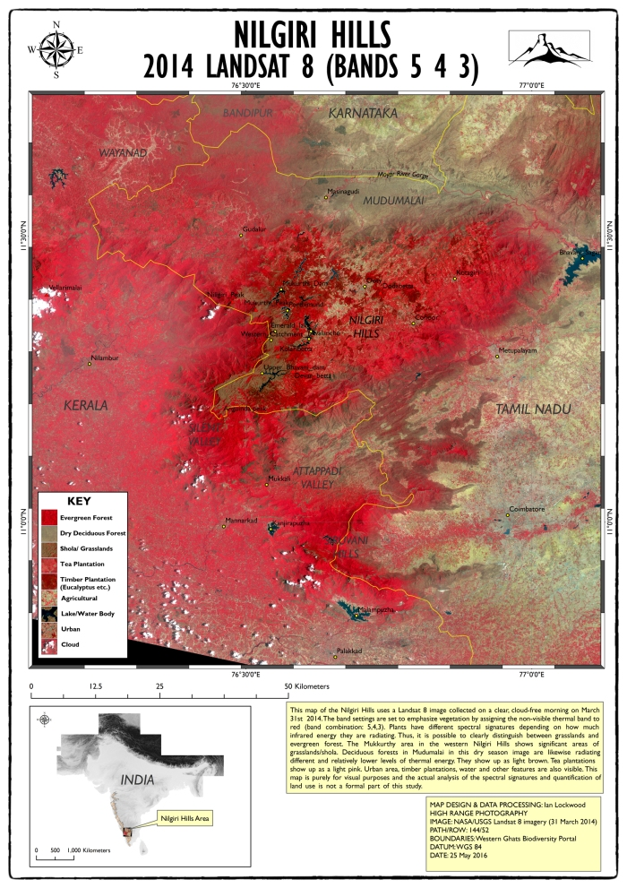 2014 Landsat Nilgiri Hills map (click twice on image for larger 150 DPI A3 image)