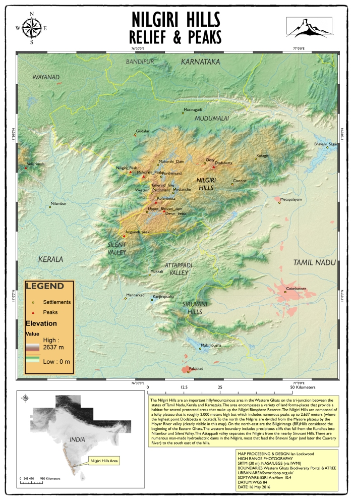 Nilgiri HIlls relief & elevation map.