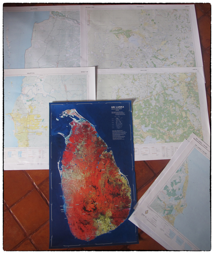 Piecing together 1:50,000 topo sheets of the west coast & WIlpattu purchased from the Sri Lanka Survey Department.
