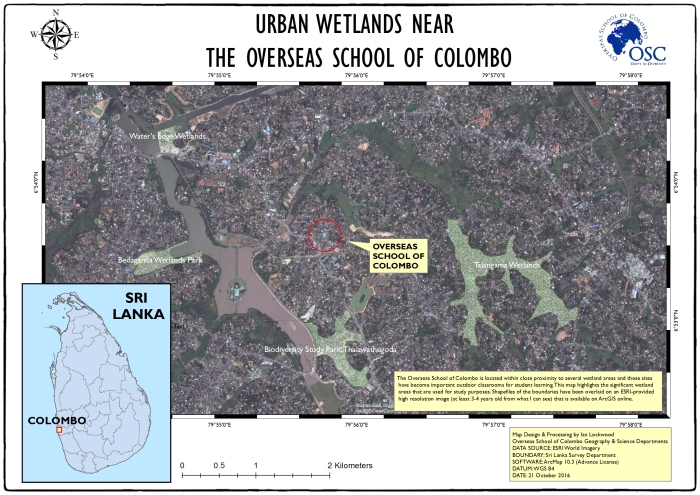 GIS-generated map of urban wetlands near to OSC. Double click on image for larger A3 15- DPI version.
