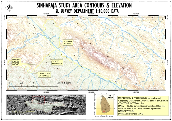 OSC's field study site in Sinharaja: a map crated with ARCGIS 10.4 and recently released 1:10,000 data from the Sri Lankan Survey Department.