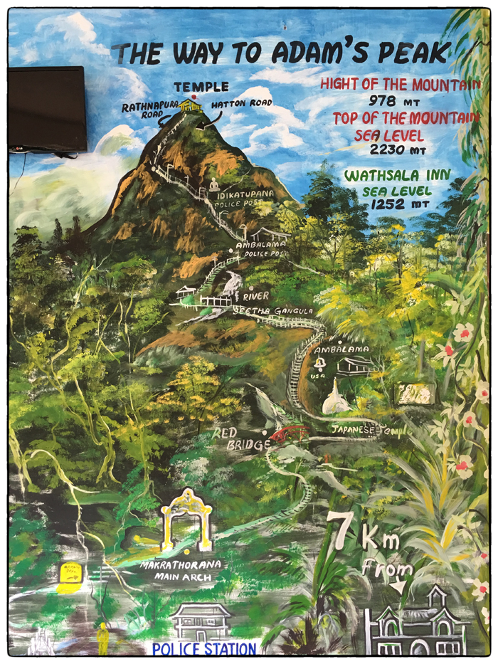 The Way to Adam's Peak: a map mural from Whatsala Inn.