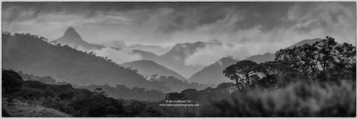 Afternoon composite view of Sri Pada from Horton Plains National Park.