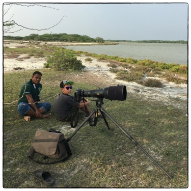 Lenny and Irfan (from the DWC) scoping out possible flamingo zones for the next morning.