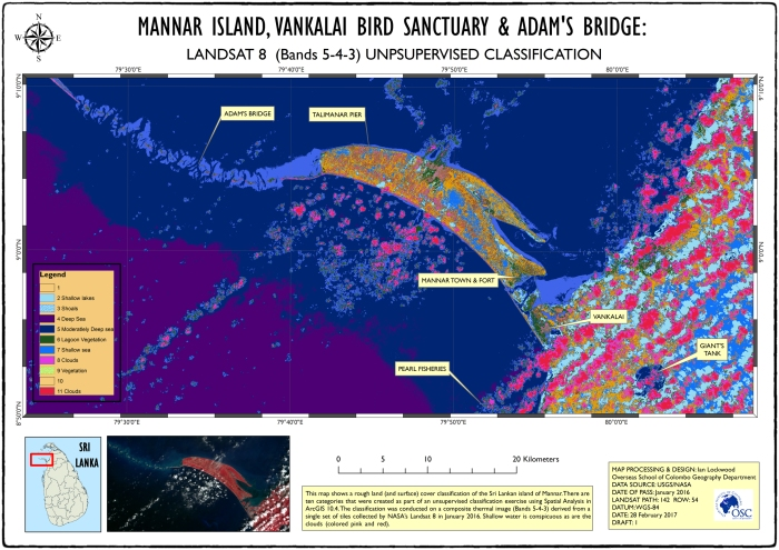 Landa nd surface cover study of Mannar island based on a Landsat image from January 2016. Double click on image for larger A3 version.