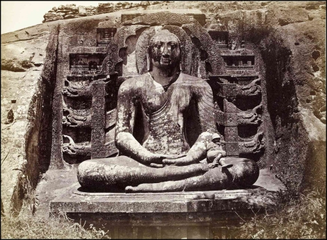 Joseph Lawton's Gal Vihara seated Buddha. Taken @ 1870.