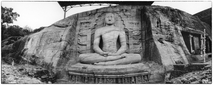 Gale Vihara seated Buddha photographed on medium format film with a Noblex 120 camera in January 2006.