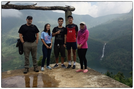 OSC's Class of 2019 ES&S class and their chaperones at Adam's Peak Falls at Maskeliya Lake