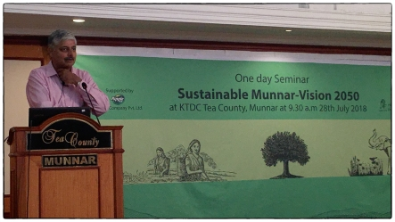"Vivek Menon, the founding director of Wildlife Trust of India giving his talk ""Complete Conservation: Ecologically Sensitive Development, a Global Perspective."""