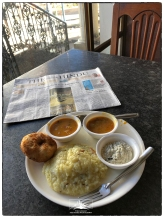 After sunrise...South Indian breakfast featuring pongol, vadai and the Hindu.