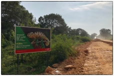 Sign on the road to the Aruwakkalu limestone quarry. This is also the site for the proposed and controversial land fill that will take in Colombo's waste. The area hosts fine example of dry zone tropical thorn forest.