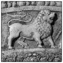 Lion moonstone detail at ruins south of Thuparama, Anuradhapura.